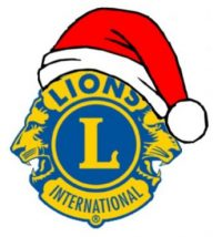 Lions logo and Santa hat.