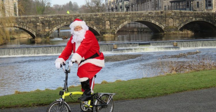 Santa on his bike rather than in the usual sleigh